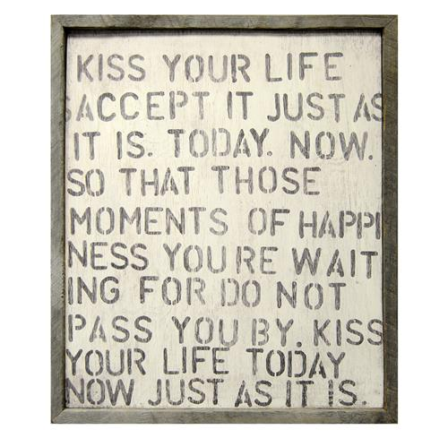 Kiss Your Life Reclaimed Wood Vintage Wall Art | Kathy Kuo Home