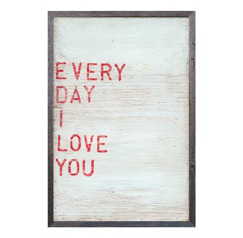 Every Day I Love You Red Block Wood Wall Art - 25x18 | Kathy Kuo Home