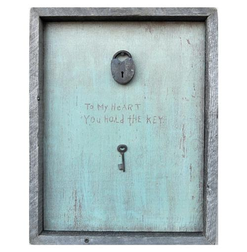 Key To My Heart Turquoise Reclaimed Wood Wall Art | Kathy Kuo Home