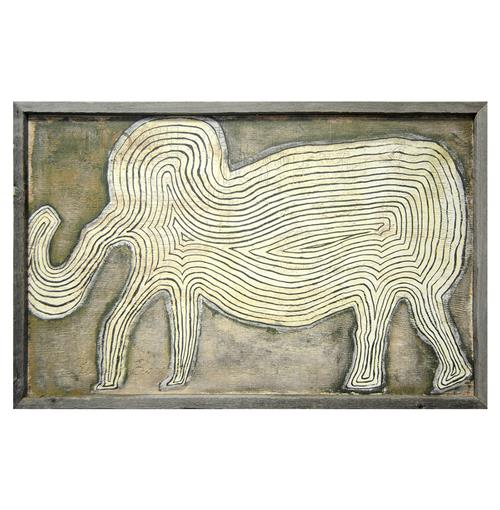Grey Elephant In The Room Reclaimed Wood Vintage Wall Art | Kathy Kuo Home
