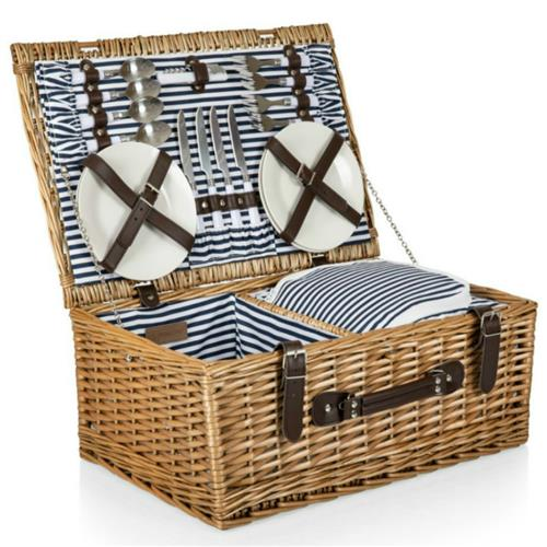 Sandra Modern Classic Brown Handwoven Willow Picnic Basket with Serveware for 4 | Kathy Kuo Home