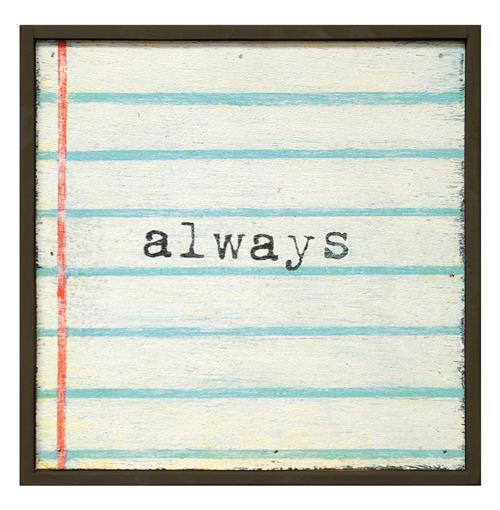 Always' Lined Notebook Reclaimed Wood Small Wall Art | Kathy Kuo Home