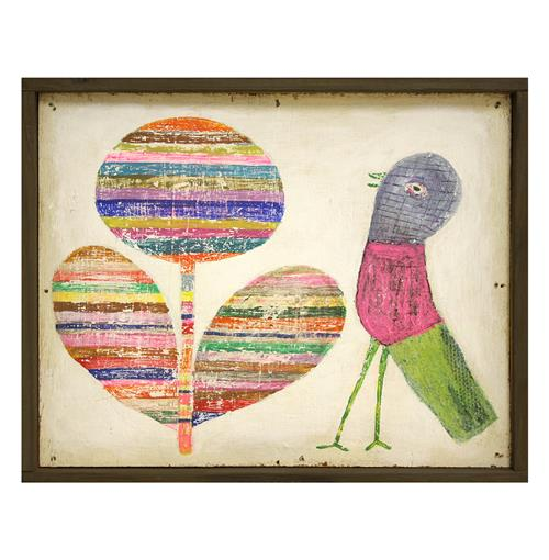 Flower and Bird Colorful Vintage Painted Wooden Wall Art | Kathy Kuo Home