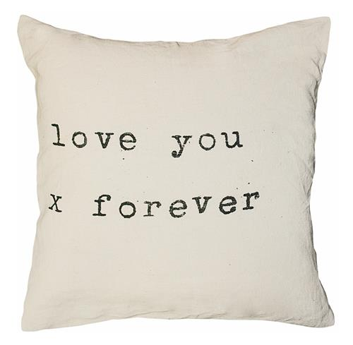 Love You x Forever Vintage Typewriter Linen Pillow - 24x24 | Kathy Kuo Home