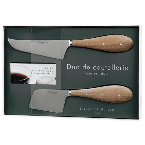 L'Atelier Du Vin Modern Classic Stainless Steel Wood Cheese Knives - Set of 2 | Kathy Kuo Home