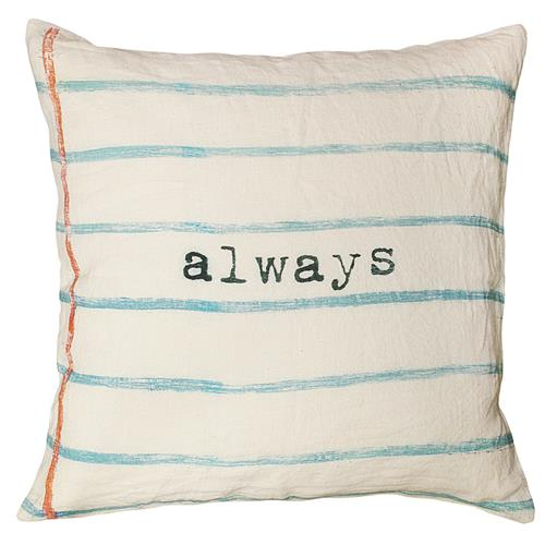 Always Blue Lined Vintage Typewriter Linen Down Pillow - 24x24 | Kathy Kuo Home