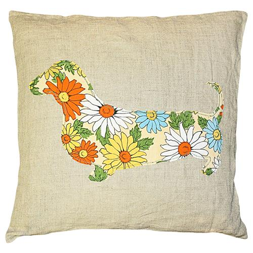 Dachshund Floral Print Rustic Linen Down Throw Pillow - 24x24 | Kathy Kuo Home