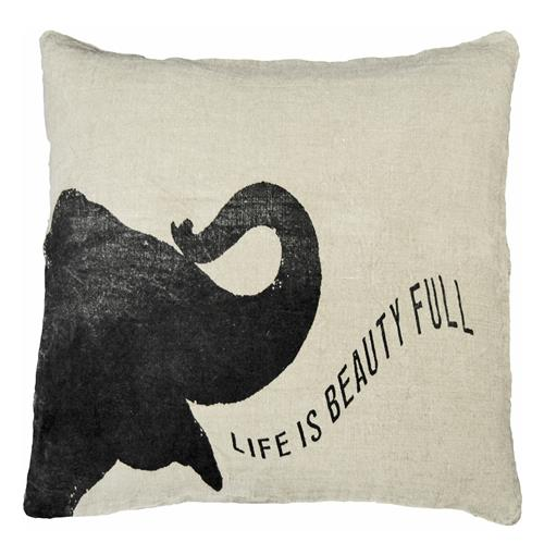 Life Is Beauty Baby Elephant Linen Down Throw Pillow - 24x24 | Kathy Kuo Home
