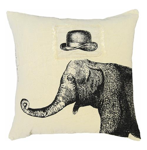 Hat Elephant Hand Printed Linen Down Throw Pillow - 24x24 | Kathy Kuo Home