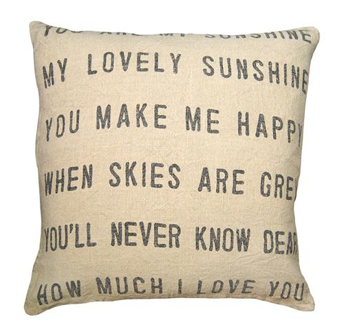 You Are My Sunshine Linen Down Throw Pillow - 24x24 | Kathy Kuo Home