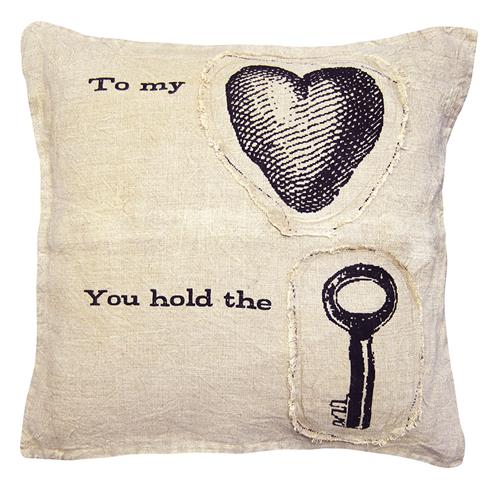 To My Heart You Hold The Key Linen Down Throw Pillow | Kathy Kuo Home
