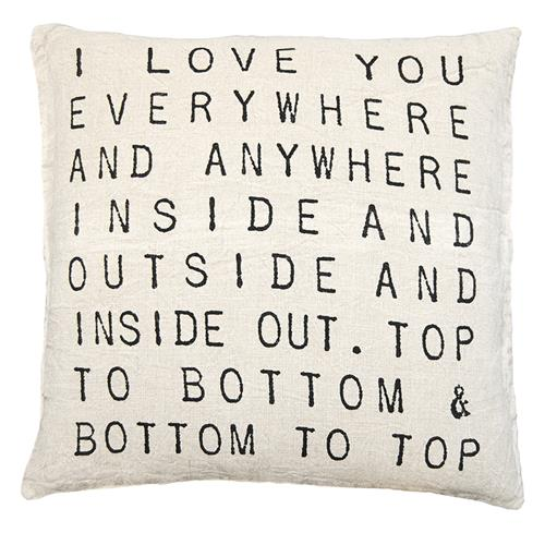 I Love You Everywhere Script Linen Down Throw Pillow | Kathy Kuo Home