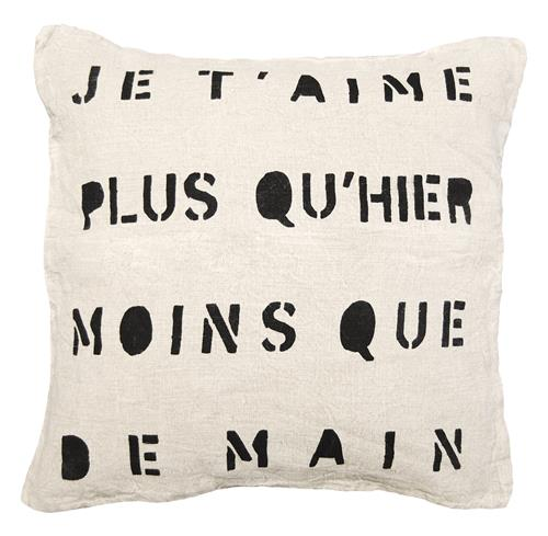 Je TAime Infinite Love Linen Down Throw Pillow | Kathy Kuo Home