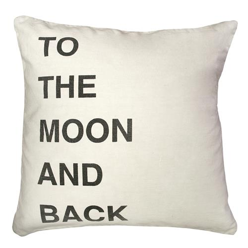 To The Moon and Back Bold Script Linen Throw Pillow - 24x24 | Kathy Kuo Home