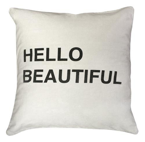 Hello Beautiful Bold Script Linen Down Throw Pillow - 24x24 | Kathy Kuo Home