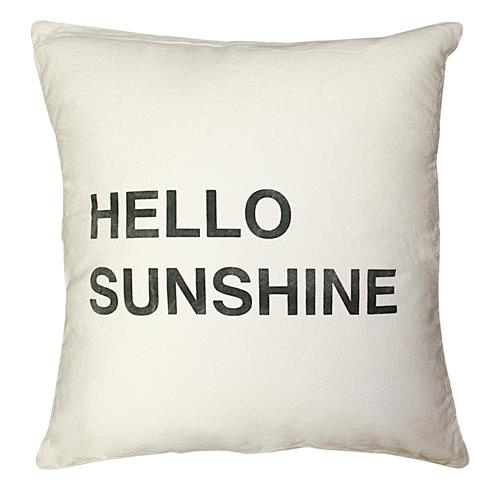 Hello Sunshine Bold Script Linen Down Throw Pillow - 24x24 | Kathy Kuo Home