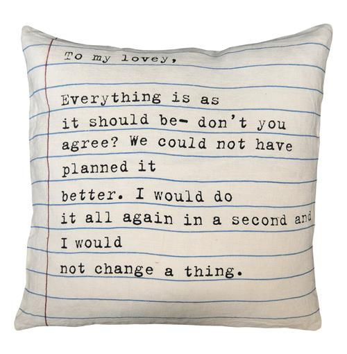 To My Lovey Vintage Typewriter Script Linen Throw Pillow - 24x24 | Kathy Kuo Home
