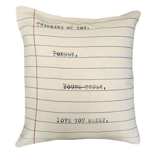 Thinking Of You Vintage Typewriter Linen Throw Pillow - 24x24 | Kathy Kuo Home
