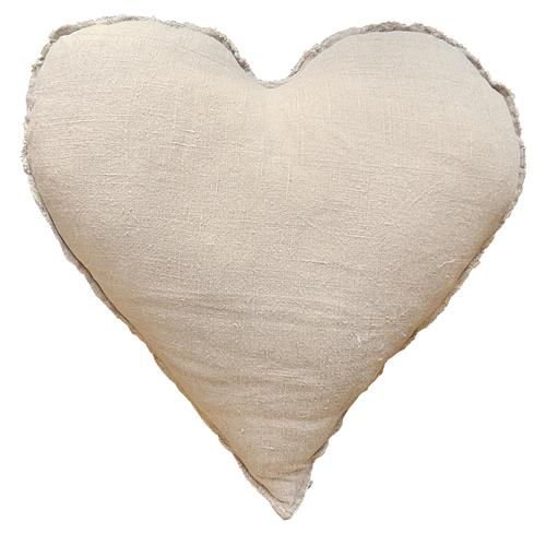 Linen Frayed Edge Rustic Heart Shaped Down Pillow - 24x24 | Kathy Kuo Home