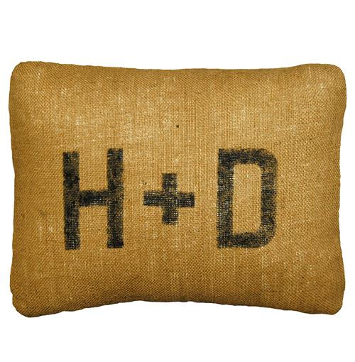 Rustic Burlap Custom Initial Pillows - 16x19 | Kathy Kuo Home