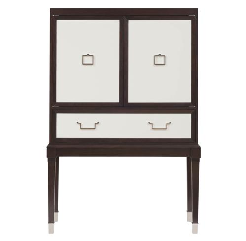 Sadie Hollywood Regency Espresso White Bar Cabinet | Kathy Kuo Home