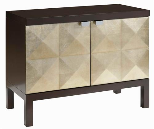 Sterling Raised Diamond Hollywood Regency Gold Leaf Cabinet | Kathy Kuo Home