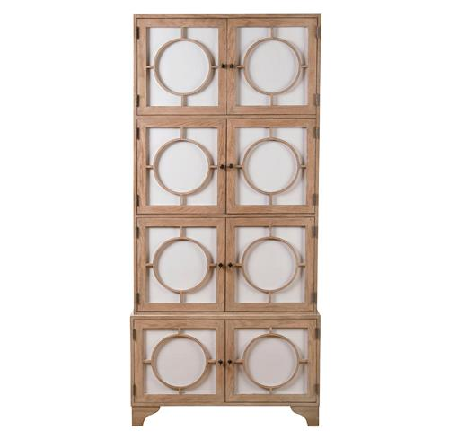 Vance Modern Hollywood Light Oak Milk Glass China Cabinet | Kathy Kuo Home