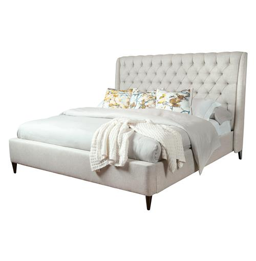Kara Hollywood Regency Button Tufted Fawn Linen Bed - Queen | Kathy Kuo Home