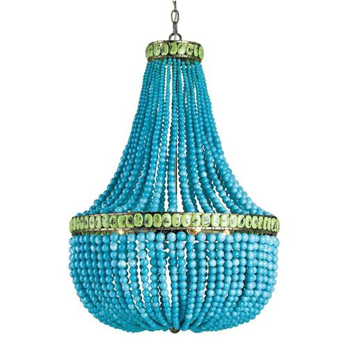 Turquoise Blue Beaded Coastal Beach 3 Light Chandelier | Kathy Kuo Home