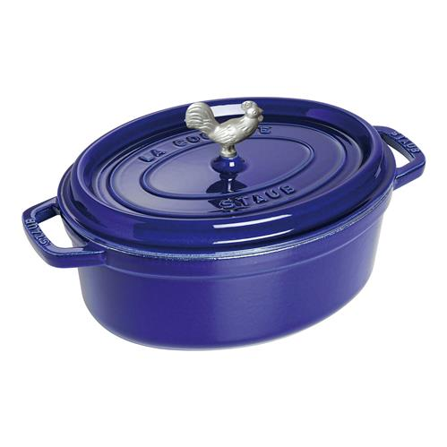 Staub Dark Blue 5.8 Quart Cast Iron Oval Cocotte Pot | Kathy Kuo Home