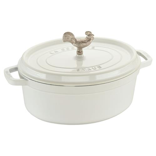 Staub White 5.8 Quart Cast Iron Oval Cocotte Pot | Kathy Kuo Home
