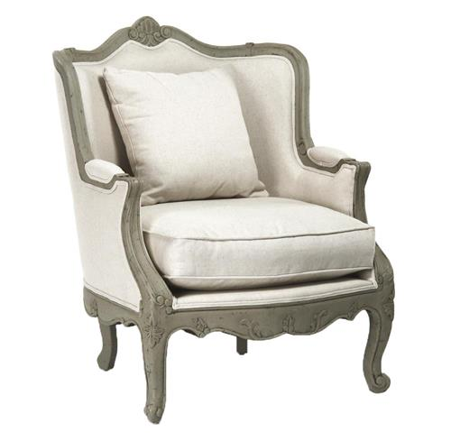 Adele French Country Rustic Off White Cotton Arm Accent Chair | Kathy Kuo Home