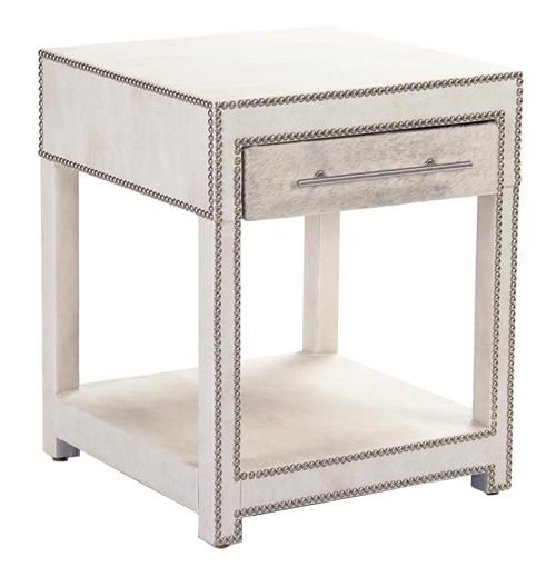 Modern Art Deco Hollywood Regency Hair on Hide Nightstand End Table | Kathy Kuo Home