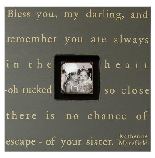 Painted Wood Rustic Photo Box - Bless You My Darling - Slate | Kathy Kuo Home