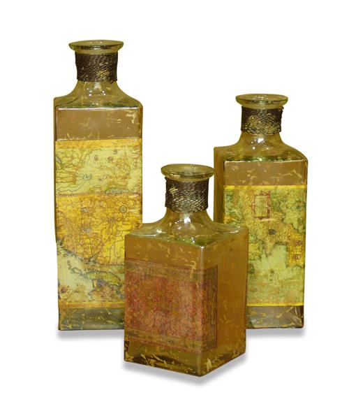 Cosina Explorers Antique French Rustic Map Decoupage Bottle Set | Kathy Kuo Home