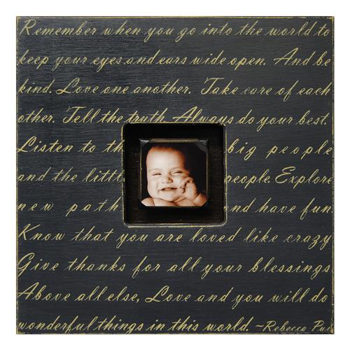 Painted Wood Rustic Photo Box - Remember When You Go - Black | Kathy Kuo Home