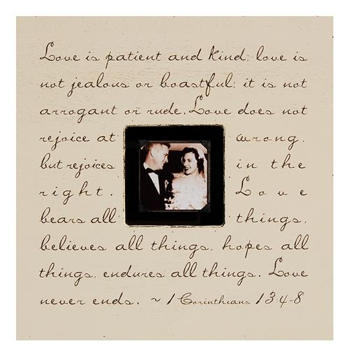 Painted Wood Rustic Photo Box - Love Is Patience - Cream | Kathy Kuo Home