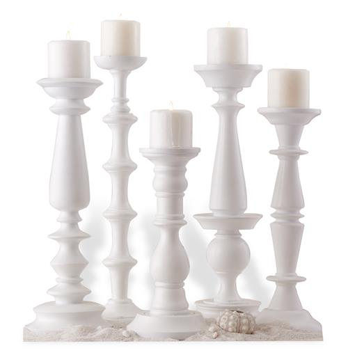 Set of 5 Beach Style Sea Crest Carved Wood White Pillar Candleholders | Kathy Kuo Home
