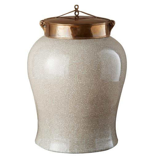 White Crackle Blossom Asian Porcelain Bronze Lidded Tea Jar - Large | Kathy Kuo Home