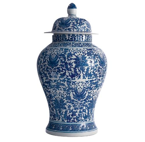 Asian Lotus Covered Blue White Hand Painted Temple Jar - A | Kathy Kuo Home