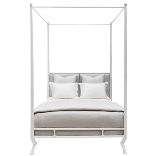 Oly Studio Faline French Country Rain Leather White Metal Bed - King | Kathy Kuo Home