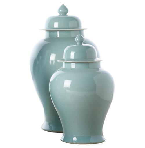 Set of 2 Turquoise Asian Inspired Porcelain Temple Jars | Kathy Kuo Home