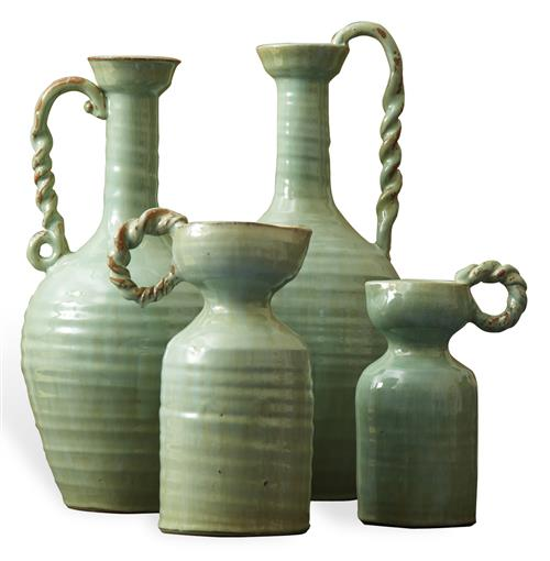 French Country Hand Made Celadon Green Terracotta Vase Set - Set of 4 | Kathy Kuo Home