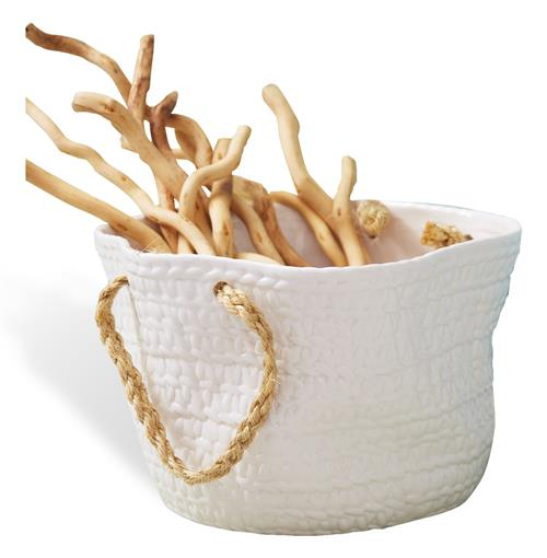 Cape May Beach Style Ceramic Basket with Hemp Rope Handles | Kathy Kuo Home