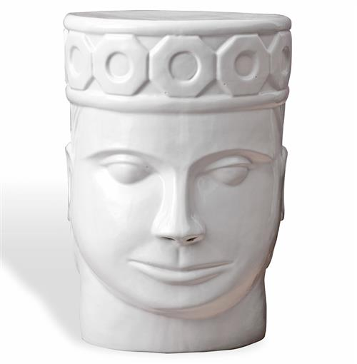 Imperial King Global Bazaar White Face Garden Stool | Kathy Kuo Home