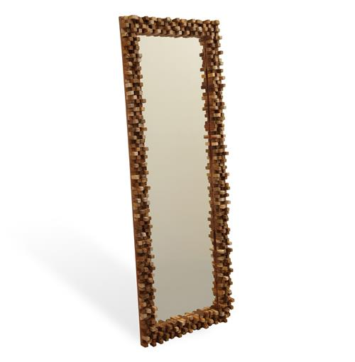 Solid Chunky Wood Modern Rustic Tall Floor Mirror | Kathy Kuo Home