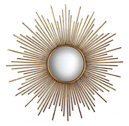 La Villette Antique Gold Hollywood Regency Sunburst Mirror | Kathy Kuo Home