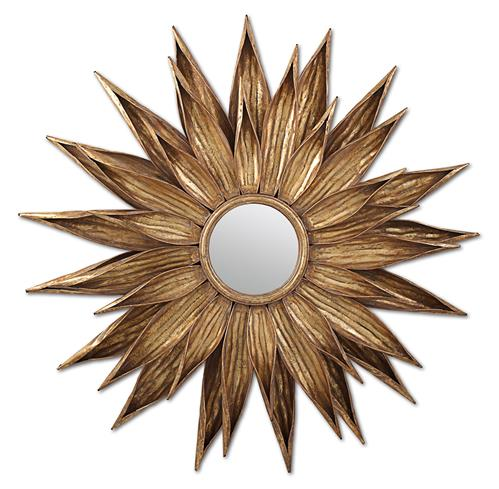 Sunflower Hollywood Regency Antique Gold Wall Mirror | Kathy Kuo Home