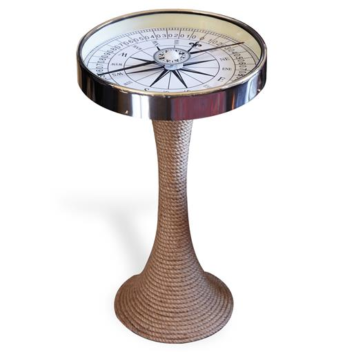 Nautical Glass and Rope Coastal Style Compass Accent Side End Table | Kathy Kuo Home