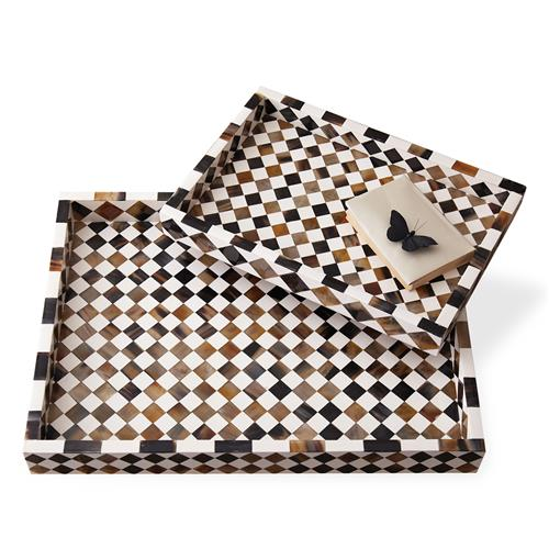 Zanzibar Modern Rustic Global Bazaar Horn Inlay Trays | Kathy Kuo Home